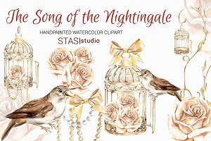 Gold Bird cage Clipart Nightingale