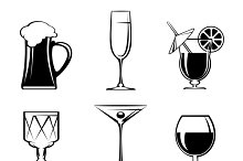 Silhouette Beverage Glass Icons