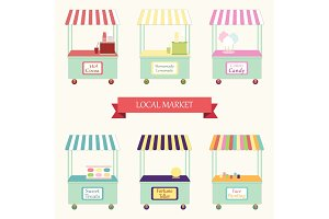Cute vintage market stands