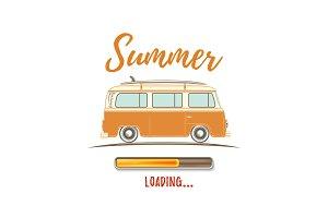 Summer loading. Vintage, retro camper van.
