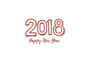 Happy New Year 2018 template for greeting card.