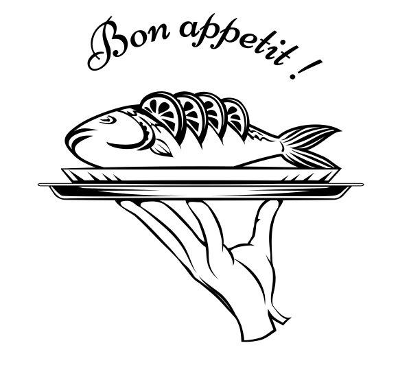 Bon Appetit fish design element