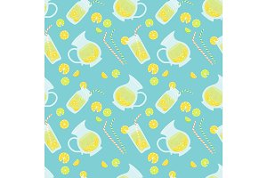 Cute vintage seamless pattern Fresh Lemonade