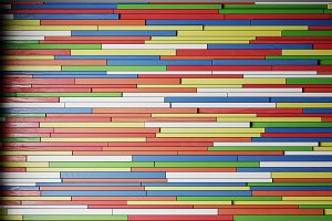 Wall of colored wooden slats