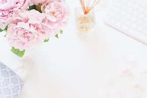 Peonies Desk Styled Stock Flat Photo