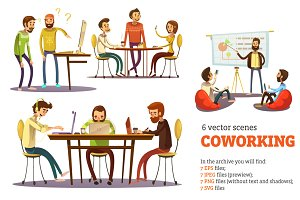 Coworking Cartoon Set