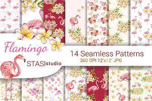 Pink Flamingo Watercolor Paper Pack