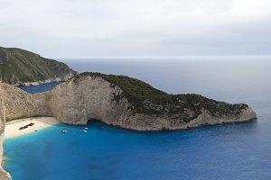 Beautiful Navagio beach panorama with shipwreck on Zakynthos island in Greece