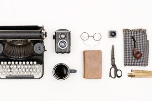 flat lay retro typewriter items