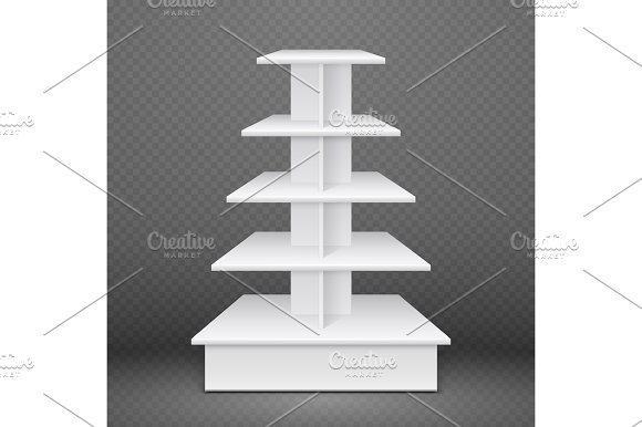 White Exhibition Stand With Square Shelves Retail Advertising Product Display