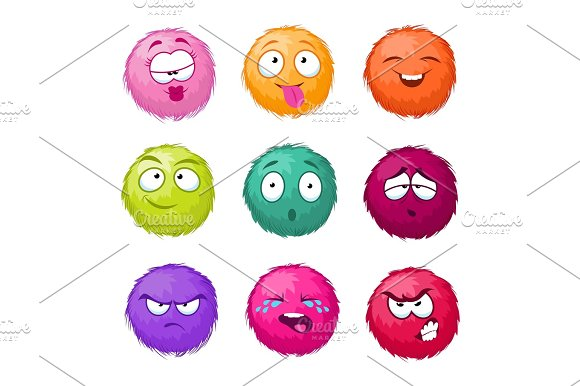 Funny Colorful Cartoon Fluffy Ball Vector Fuzzy Characters Set Monsters With Different Emotion