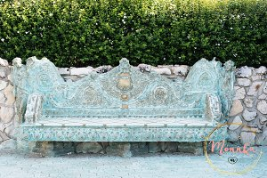 Ancient medieval baroque stone bench