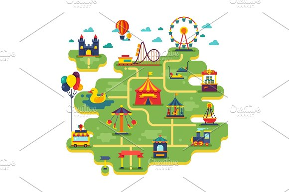Family Fun Amusement Park Vector Map Entertainment In Vacation Vector Background