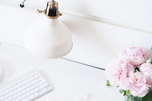 Peonies & Lamp Styled Desk Photo