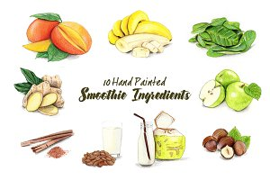 Hand Painted Smoothie Ingredients