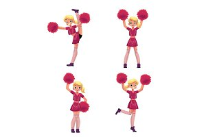 Pretty blond girl in cheerleader uniform with pompoms, cartoon illustration