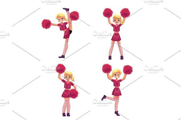 Pretty blond girl in cheerleader uniform with pompoms, cartoon illustration