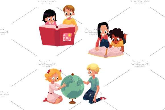 Kids, children reading, studying, learning together, cartoon vector illustration