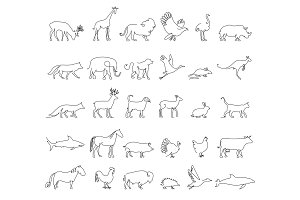 One line animals set, logos. vector stock illustration. Turkey and cow, pig and eagle, giraffe and horse, dog and cat, fox and wolf, dolphin and shark, deer and elephant, stork and chicken.
