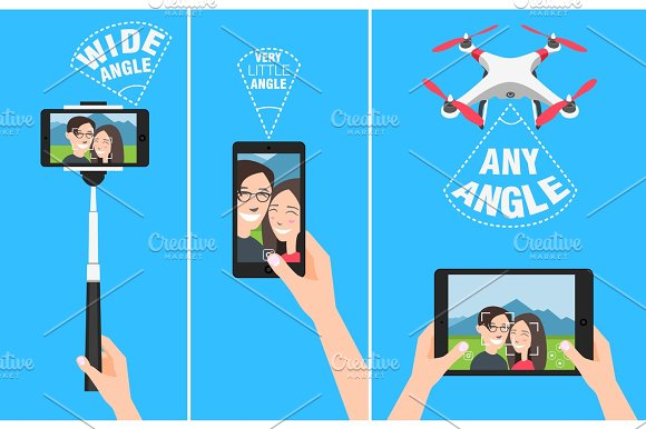 Couple Making Selfie With Drone Selfiestick And Using Hands Showing Different Angles And Abilities Of Devices