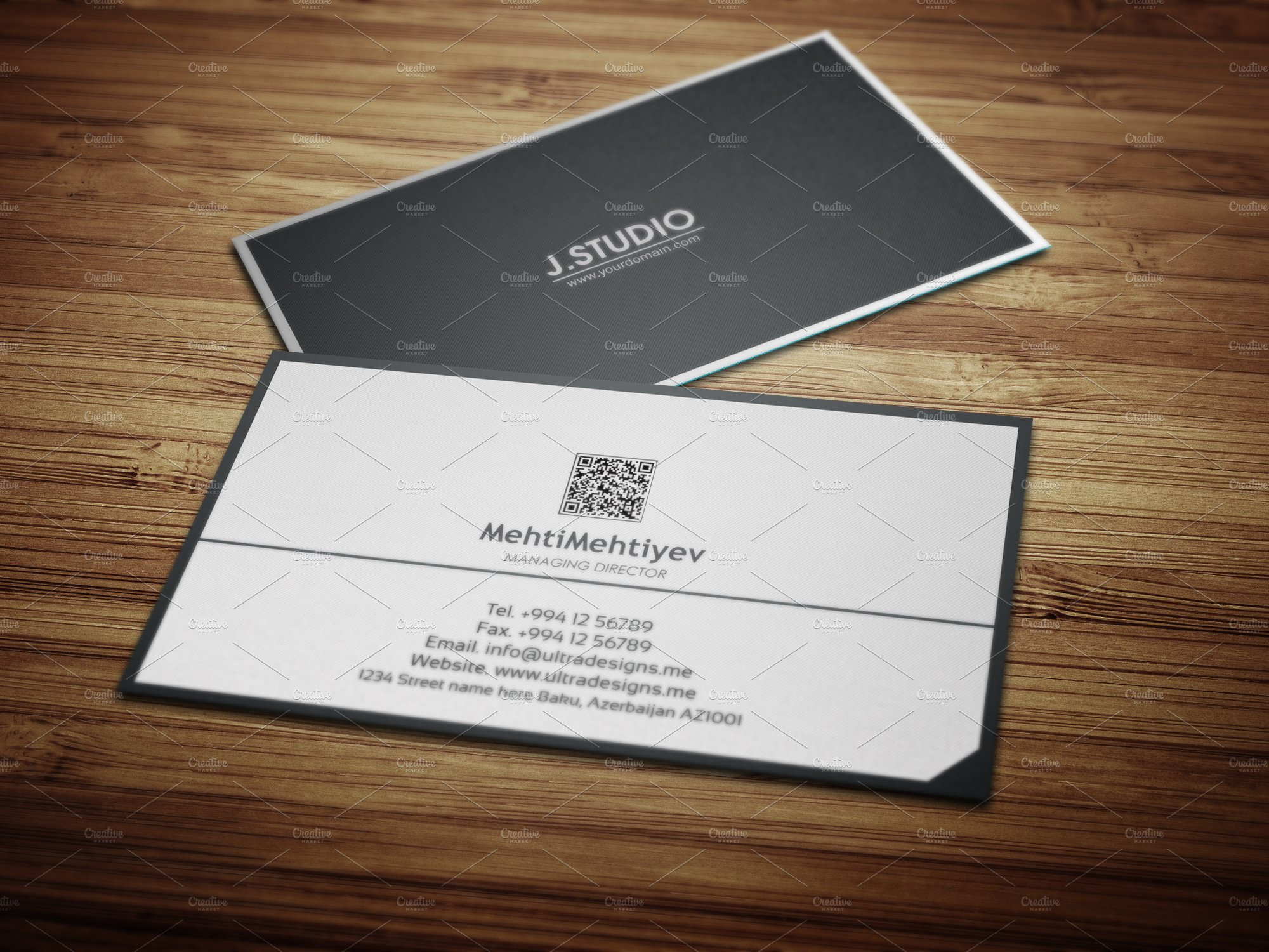 Clean qr code business card 2 business card templates creative clean qr code business card 2 business card templates creative market colourmoves Choice Image