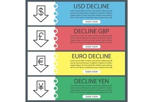 Currencies rate fall web banner templates set