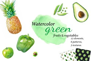 Watercolor green fruits,vegetables.