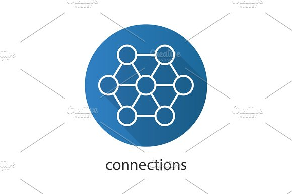 Connections Flat Linear Long Shadow Icon