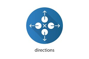 Directions flat design long shadow glyph icon