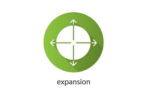 Expansion flat design long shadow icon