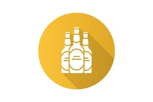 Beer bottles flat design long shadow glyph icon