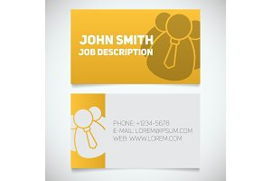 Business card print template with company personnel logo