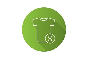 Buy clothes flat linear long shadow icon