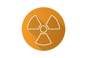 Radiation sign flat linear long shadow icon