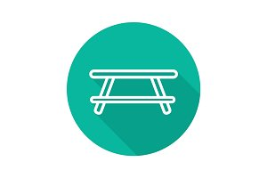 Wooden table flat linear long shadow icon