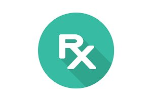 Rx flat design long shadow icon