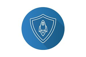 Startup projects protection. Flat linear long shadow icon