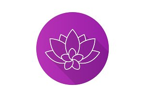 Spa salon flowers flat linear long shadow icon