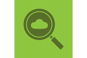 Cloud storage search glyph color icon