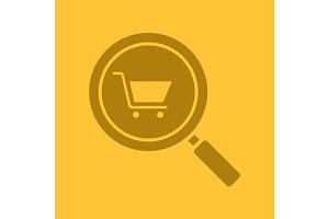 Supermarket search glyph color icon