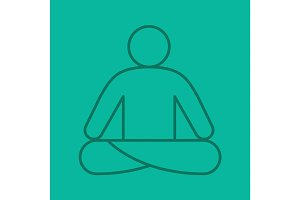 Yoga position color linear icon