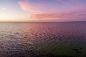 Panorama of sunset over ocean