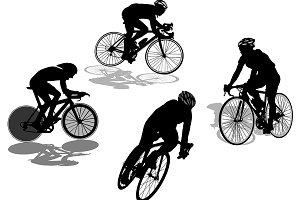 Cyclist Silhouette Vector Set