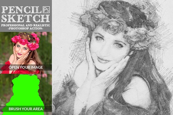 Pencil sketch photoshop action actions creative market