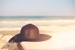 Black Hat on Beach Chair