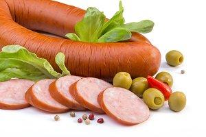 Sausage, lettuce, olives.