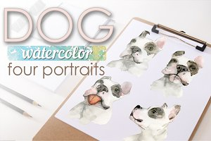 Watercolor portraits of dogs