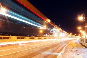 Road, night lights, windmill