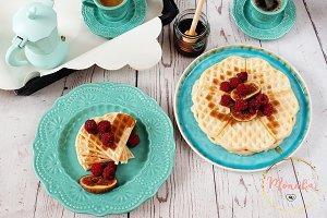 Soft Belgian heart shaped waffles