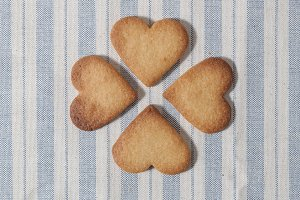 Butter cookies, heart shaped